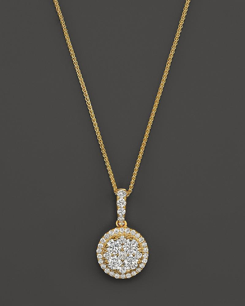 diamond cluster pendant necklace in 14k yellow gold, .55 ct. t.w. - 100% exclusive