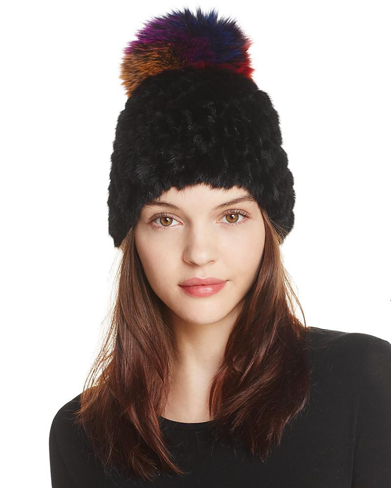 jocelyn knitted silver fox & mink fur pom-pom hat