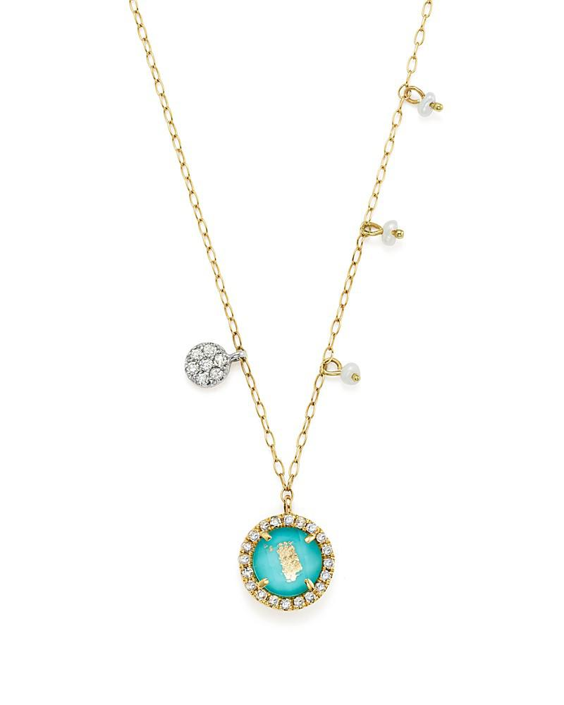 meira t 14k yellow gold turquoise doublet and diamond pendant necklace with cultured freshwater pearl charms, 16""