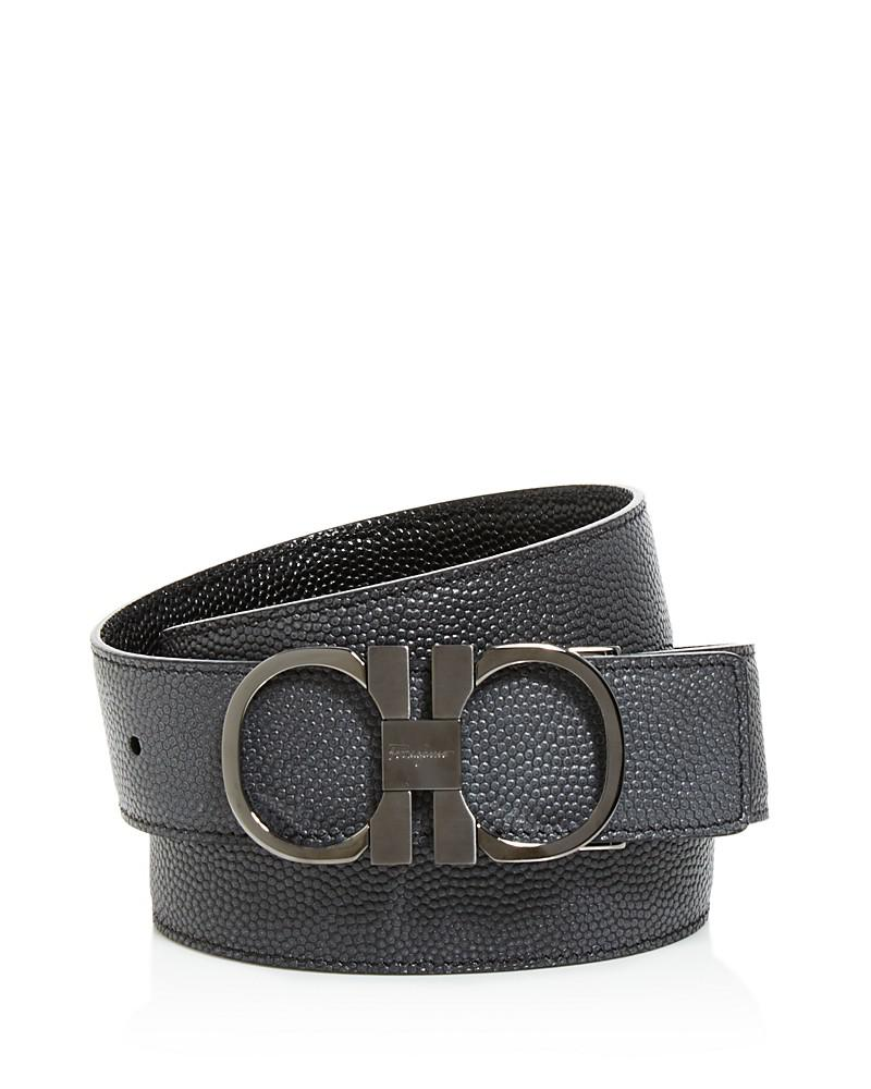 salvatore ferragamo reversible pebble calfskin belt with gunmetal double gancini buckle