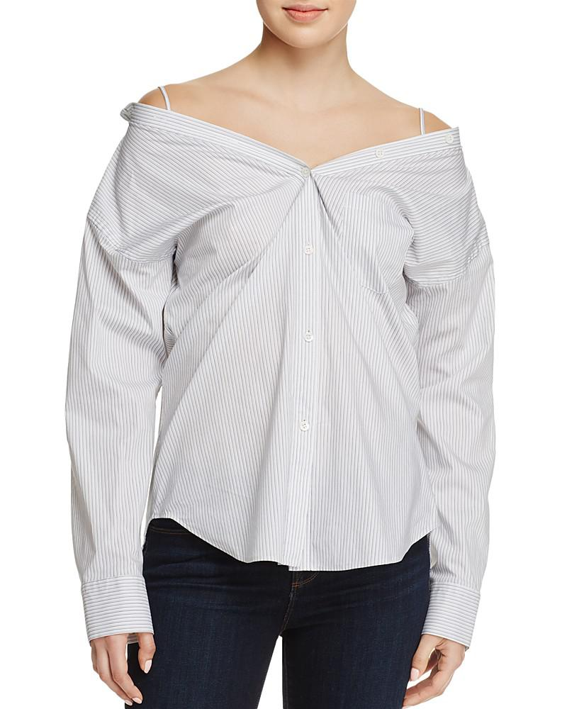 theory tamalee off-the-shoulder shirt