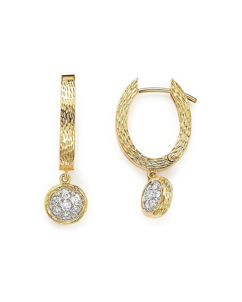 diamond huggie drop earrings in 14k yellow gold, .20 ct. t.w. - 100% exclusive