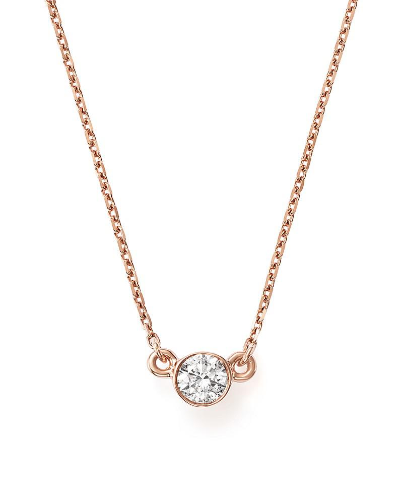 bloomingdale's diamond bezel set pendant necklace in 14k rose gold, .25 ct. t.w. - 100% exclusive
