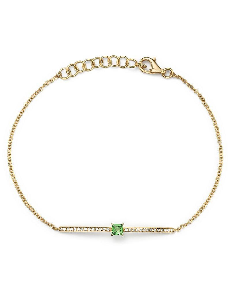 tsavorite and diamond bracelet in 14k yellow gold - 100% exclusive