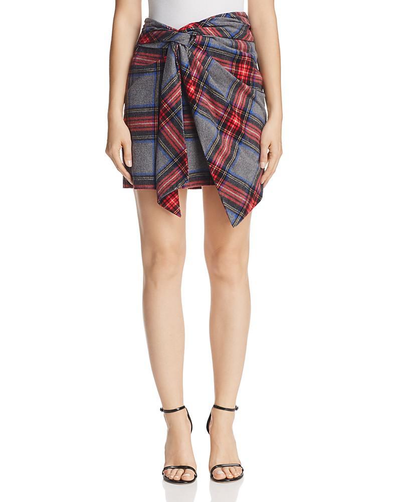 petersyn asymmetric plaid fiona skirt