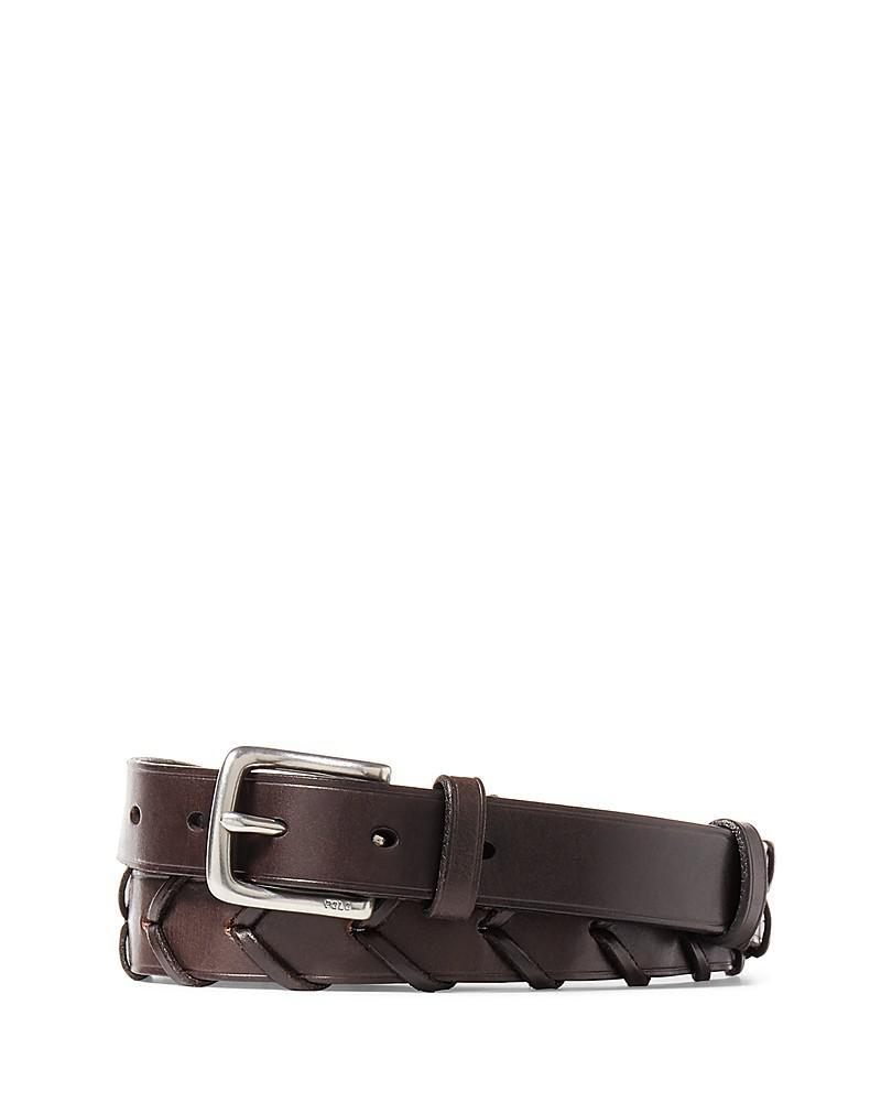 polo ralph lauren woven leather belt