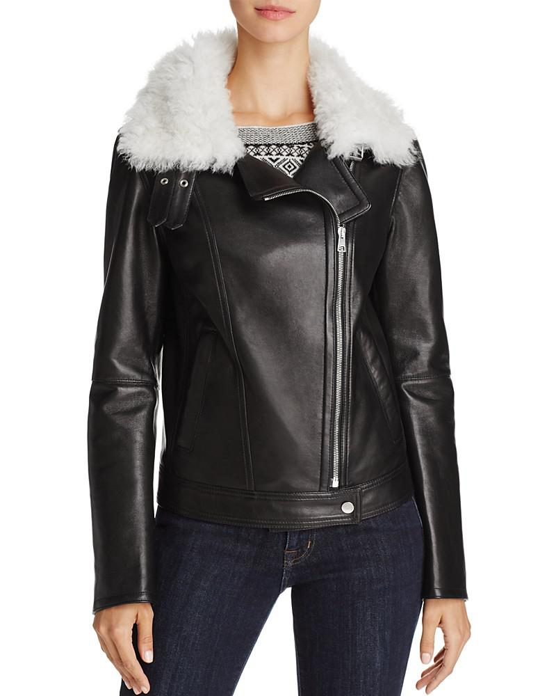 theory pomono b wilmore leather & shearling motorcycle jacket
