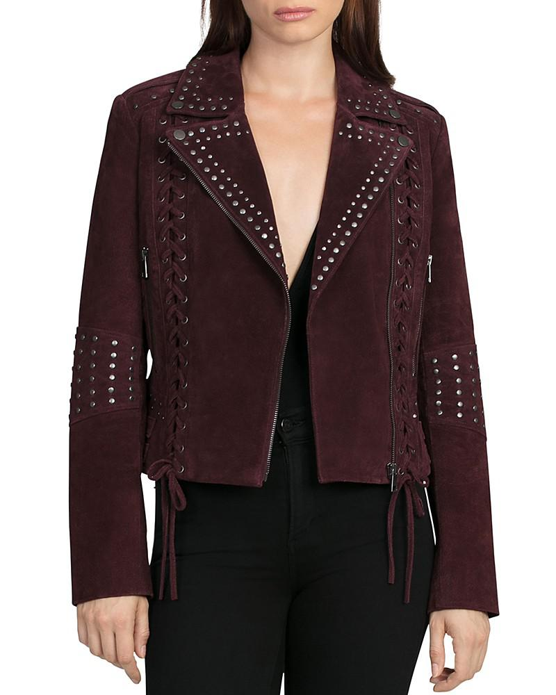 bagatelle lace-up studded suede biker jacket
