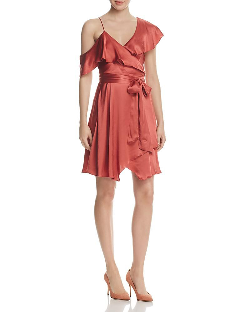 wayf rachelle satin one-shoulder wrap dress - 100% exclusive