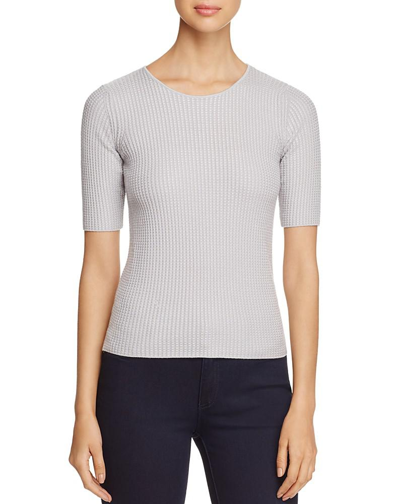 armani collezioni textured-knit check-pattern top