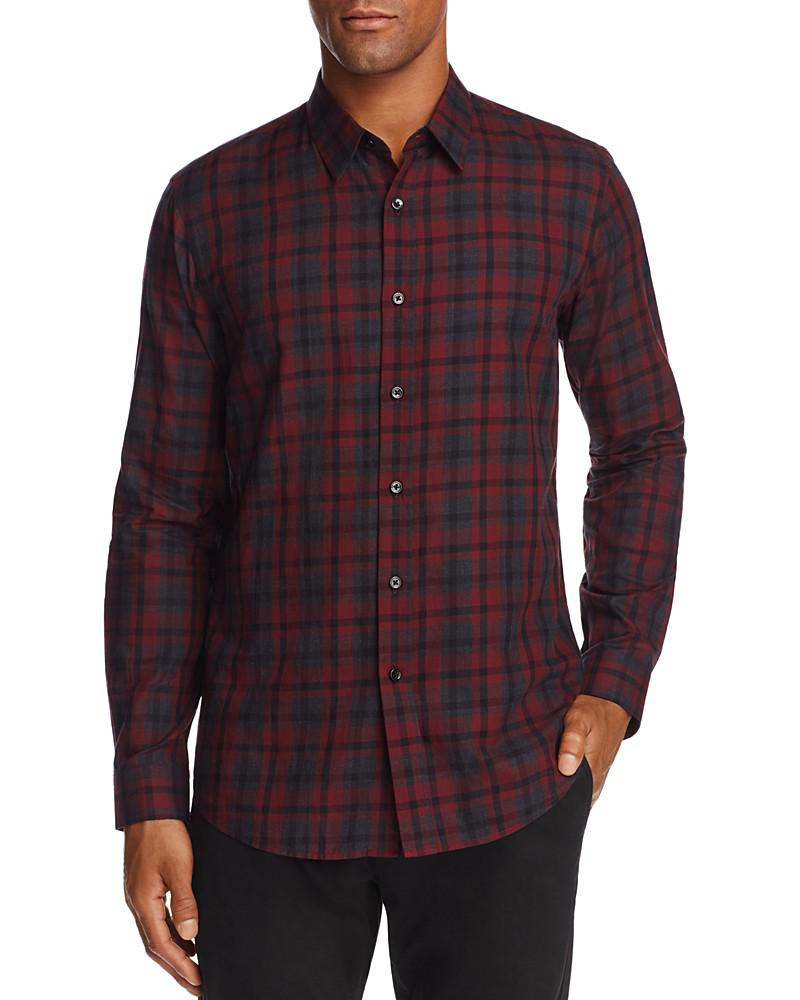 Fashion clothing theory plaid flannel slim fit button for Trim fit flannel shirts