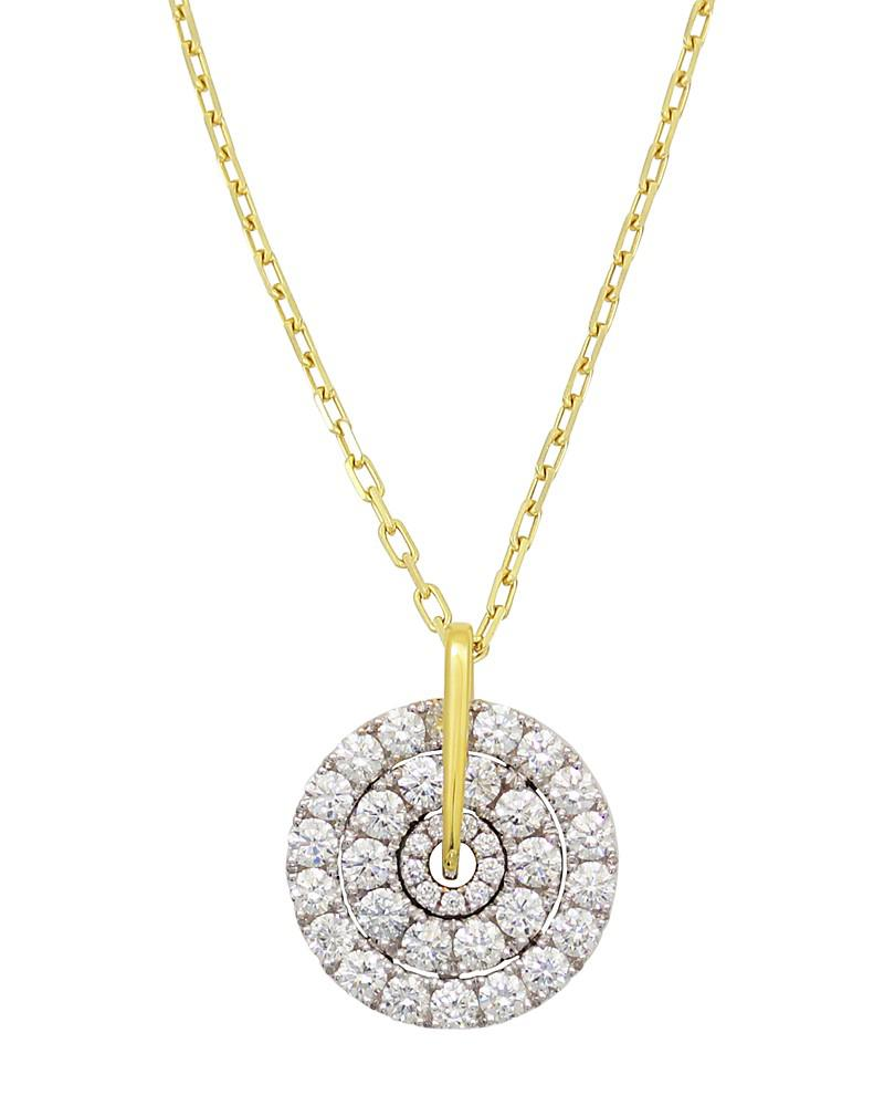 """frederic sage 18k white & yellow gold firenze large spinning diamond cluster pendant necklace, 16"""""""