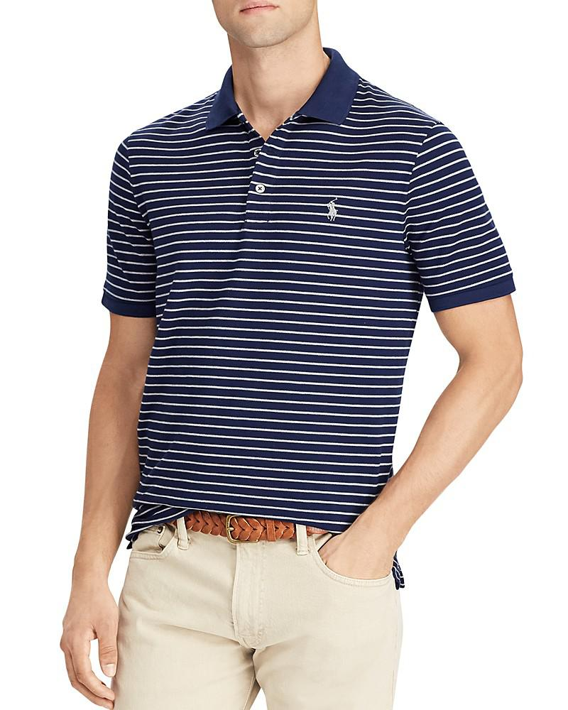polo ralph lauren striped stretch mesh short sleeve polo shirt