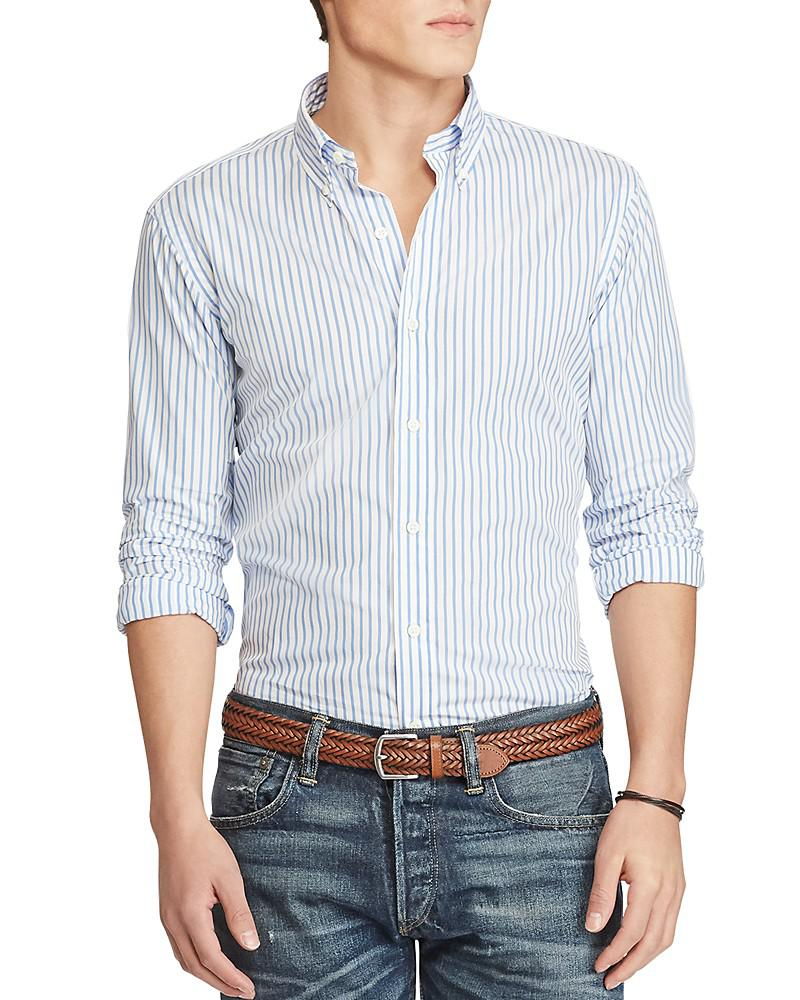 polo ralph lauren striped poplin shirt classic fit button-down shirt