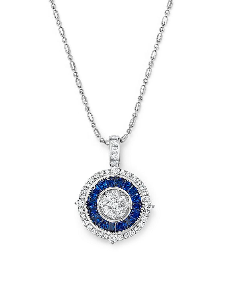 "sapphire and diamond halo pendant necklace in 14k white gold, 18"" - 100% exclusive"