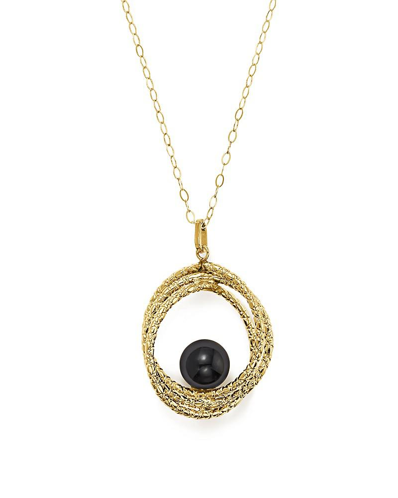 """onyx crossover sphere pendant necklace in 14k yellow gold, 18"""" - 100% exclusive"""