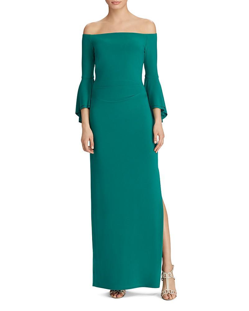 lauren ralph lauren off-the-shoulder bell sleeve gown