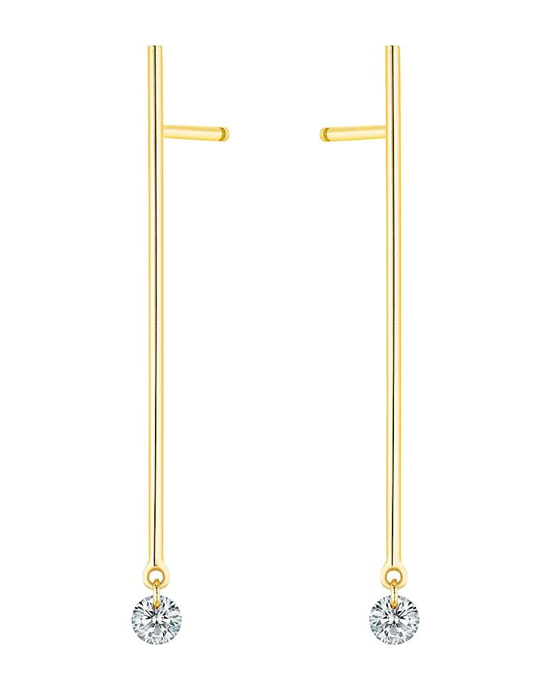 la brune et la blonde 18k yellow gold 360 diamond stick drop earrings