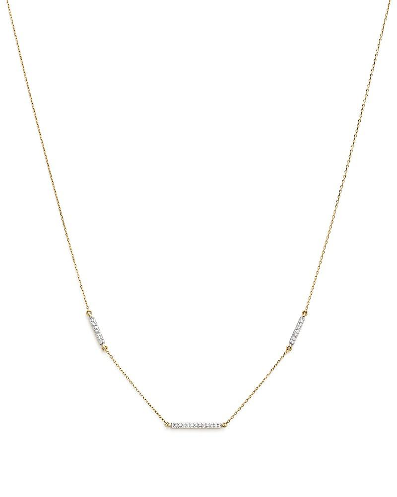 adina reyter 14k yellow gold triple pavé diamond bar choker necklace, 13.5""