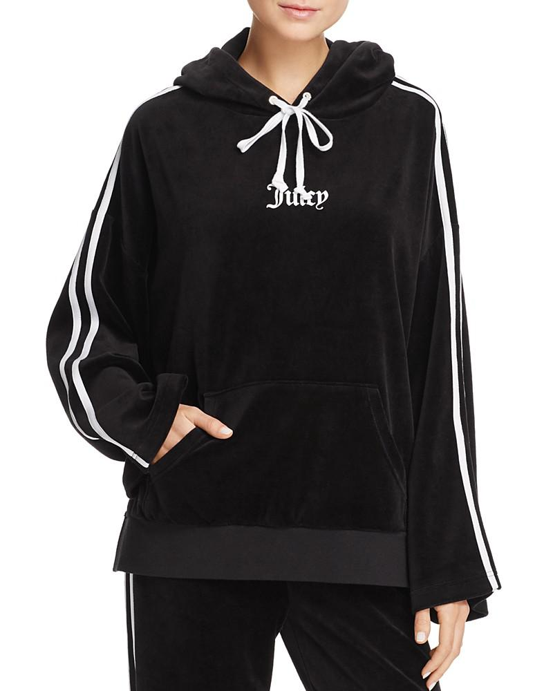 juicy couture black label bell sleeve velour hooded sweatshirt - 100% exclusive