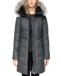soia & kyo fanya fur trim funnelneck down coat