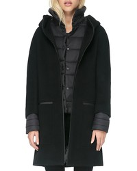 soia & kyo rosalia mixed media puffer coat