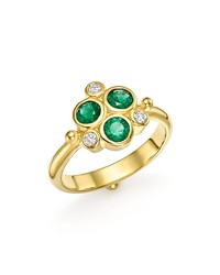 temple st. clair 18k yellow gold emerald trio and diamond ring