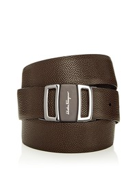 salvatore ferragamo pebbled leather reversible etched logo buckle belt