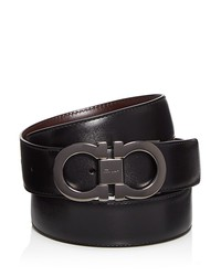 salvatore ferragamo reversible leather belt with double gancini buckle