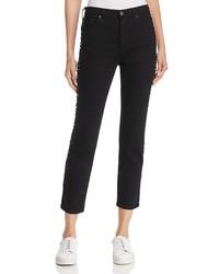 ag isabelle studded straight-leg jeans in super black meteor shower