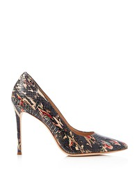 pour la victoire celeste snake-embossed pointed toe pumps