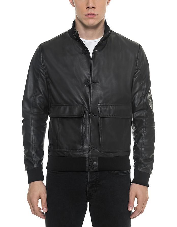 forzieri black leather men's bomber jacket