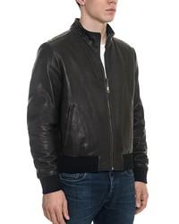 forzieri black leather and nylon men's reversible jacket