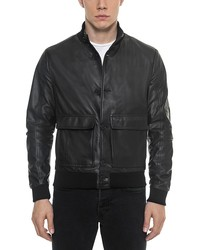 forzieri black leather men's bomber jacket