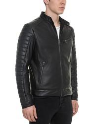 forzieri black padded leather men's biker jacket