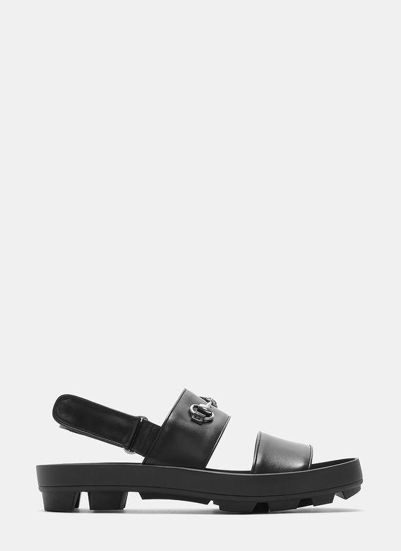 gucci  leather horsebit sandals in black