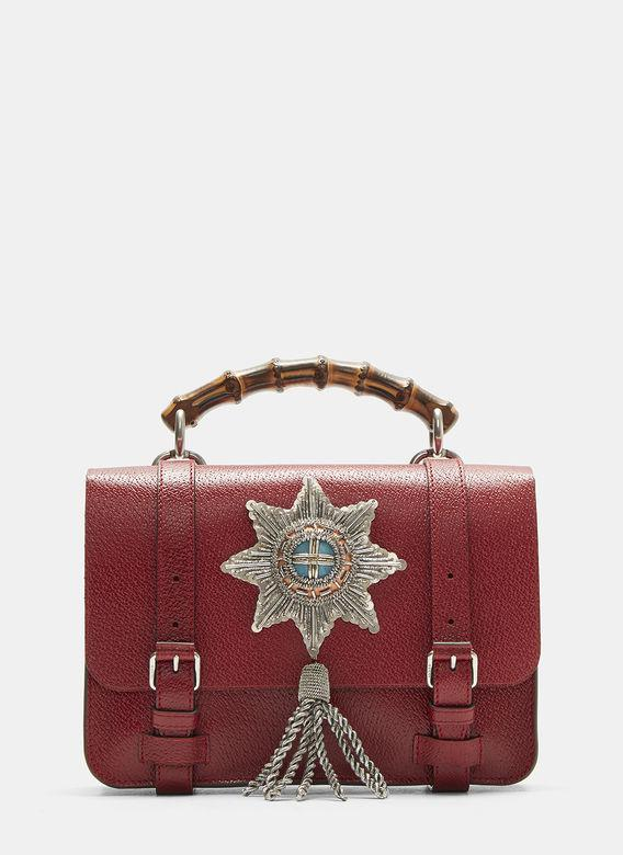 gucci  bamboo folder satchel bag in red