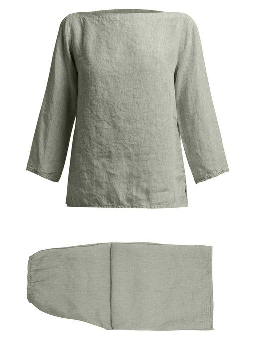 raw-edge linen pyjamas
