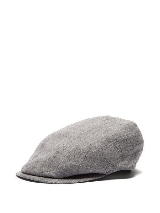 drifter graph-checked slubbed-linen flat cap