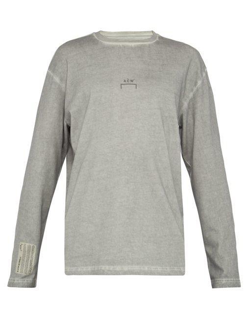 garment-dyed long-sleeved cotton t-shirt