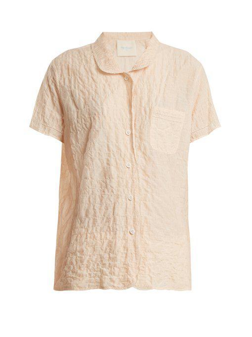 camper short-sleeved striped cotton shirt