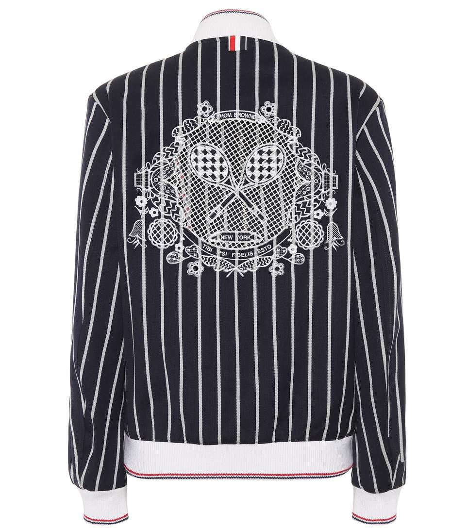 striped varsity jacket with lace