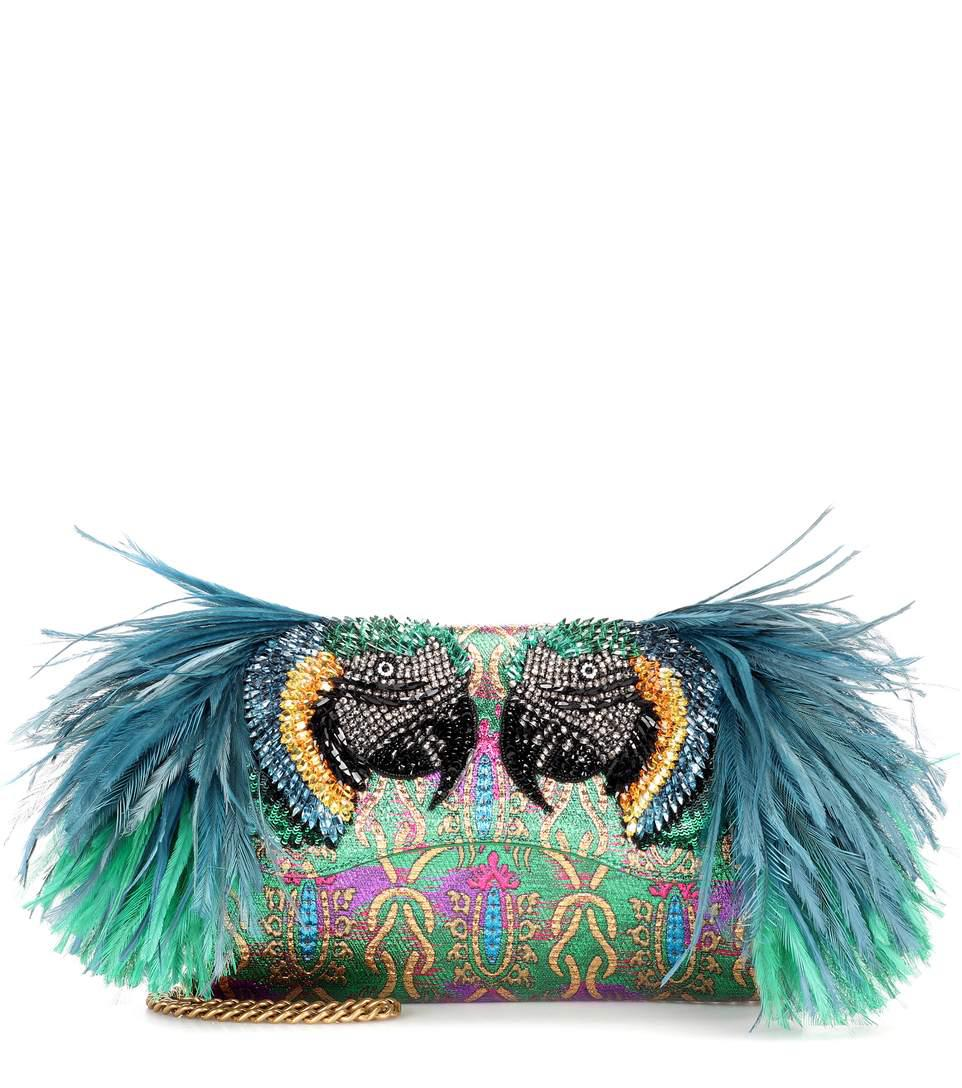 feather-embellished brocade clutch