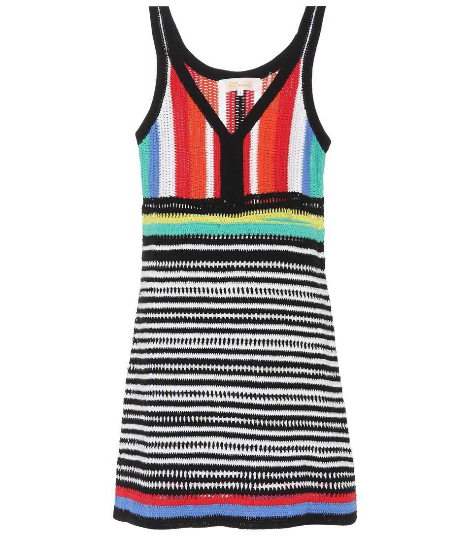 striped knit cotton minidress
