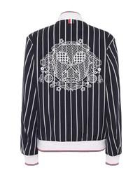 striped varsity jacket with lace