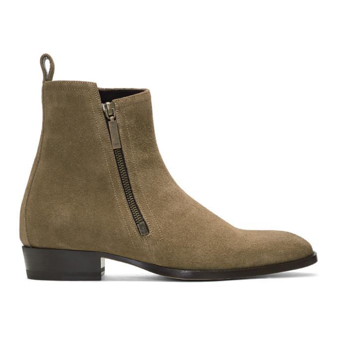 beige suede wyatt zip boots