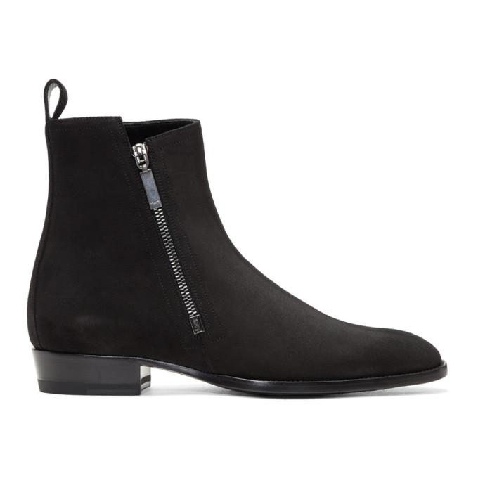 black suede wyatt zip boots