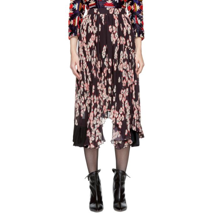 multicolor floral pleated wilny skirt