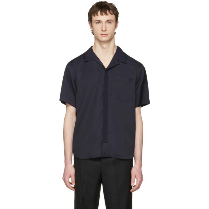 navy bowling shirt