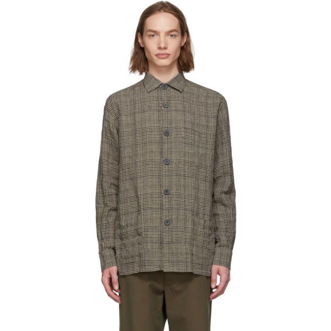 beige & blue check linen over shirt